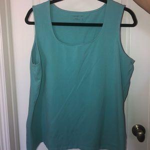Sleeveless light turquoise blouse
